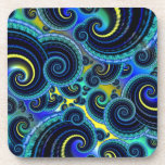 Blue and Yellow Retro Pattern Drink Coasters