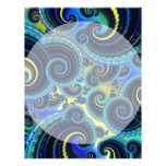 Blue and Yellow Retro Pattern Personalized Letterhead