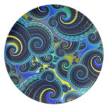 Blue and Yellow Retro Pattern Party Plates