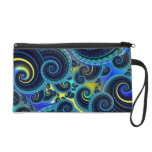 Blue and Yellow Retro Pattern Wristlet Clutches