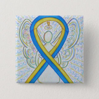 Blue and Yellow Ribbon Awareness Angel Pin