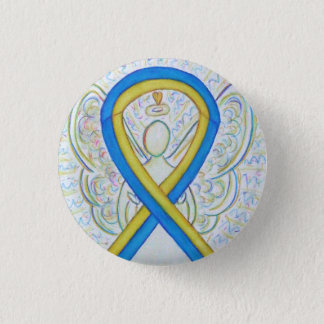 Blue and Yellow Ribbon Awareness Angel Pins