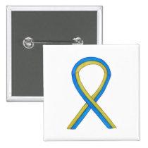 Blue and Yellow Ribbon Awareness Custom Pin