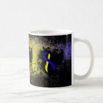 Blue and Yellow Ribbon Grunge Coffee Mug
