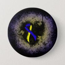 Blue and Yellow Ribbon Grunge Pinback Button
