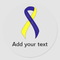 Blue and Yellow Ribbon Support Awareness Classic Round Sticker