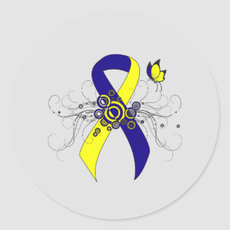 Blue and Yellow Ribbon with Butterfly Classic Round Sticker