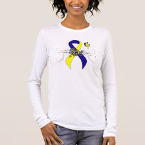 Blue and Yellow Ribbon with Butterfly Long Sleeve T-Shirt