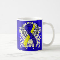 Blue and Yellow Ribbon with Wings Coffee Mug