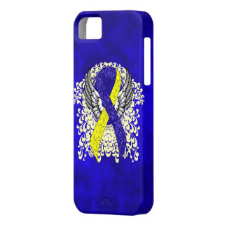 Blue and Yellow Ribbon with Wings iPhone SE/5/5s Case