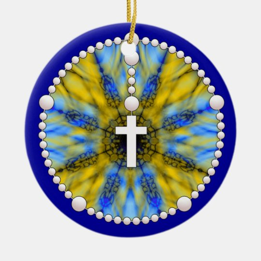 Blue and Yellow Rosary Dream Catcher Ceramic Ornament