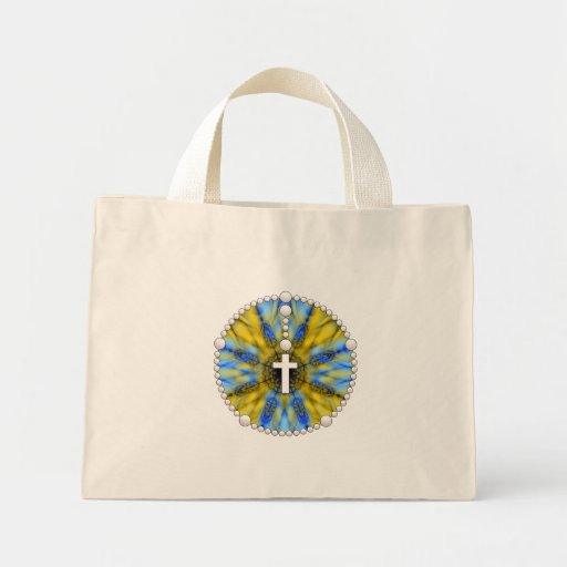 Blue and Yellow Rosary Dream Catcher Mini Tote Bag