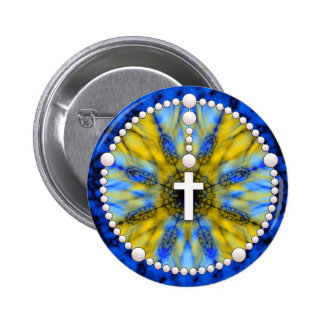 Blue and Yellow Rosary Dream Catcher Pinback Button