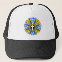 Blue and Yellow Rosary Dream Catcher Trucker Hat