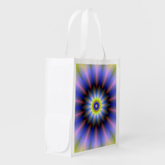 Blue and Yellow Rosette Grocery Bag