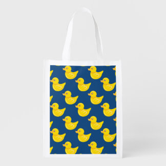 Blue and Yellow Rubber Duck Ducky Reusable Grocery Bags