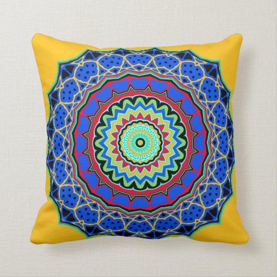 Blue and Yellow Scalloped Mandala Pillow