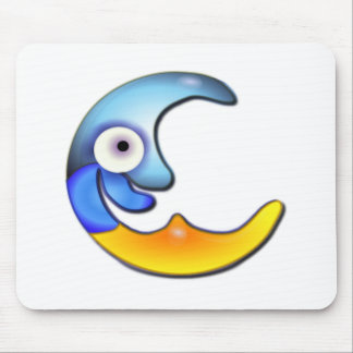 Blue and Yellow Smiling Moon Mouse Pad