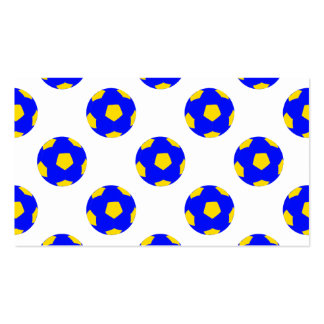 Blue and Yellow Soccer Ball Pattern Business Card