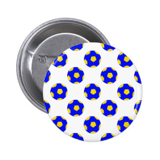 Blue and Yellow Soccer Ball Pattern Button