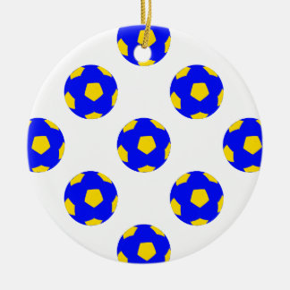 Blue and Yellow Soccer Ball Pattern Double-Sided Ceramic Round Christmas Ornament