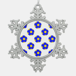 Blue and Yellow Soccer Ball Pattern Snowflake Pewter Christmas Ornament