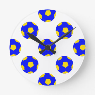 Blue and Yellow Soccer Ball Pattern Round Clock