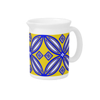 Blue And Yellow Spanish Style Tile Pattern Beverage Pitcher