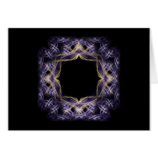 Blue and Yellow Sparkling Fractal Art Frame Card