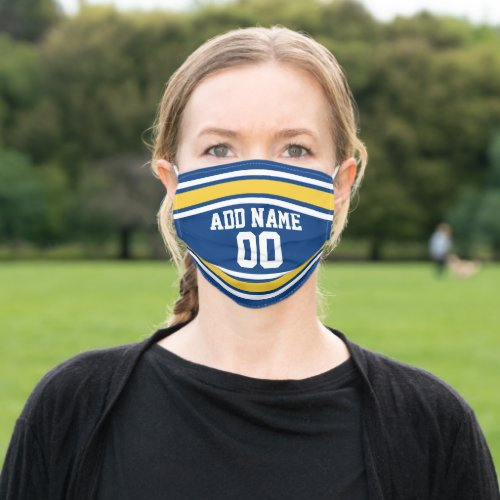 Blue and Yellow Sports Jersey Custom Name Number Cloth Face Mask