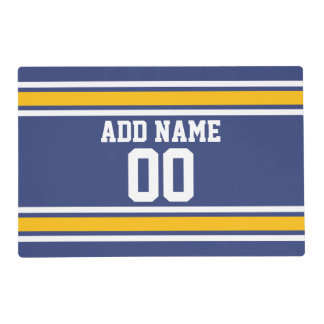 Blue and Yellow Sports Stripes Custom Name Number Laminated Placemat