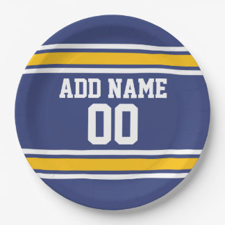Blue and Yellow Sports Stripes Custom Name Number Paper Plate