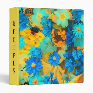 Blue and Yellow Spring Flowers Recipe 3 Ring Binder