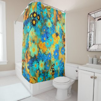 Blue and Yellow Spring Flowers Shower Curtain