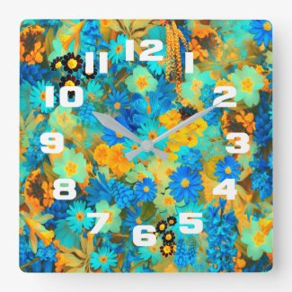 Blue and Yellow Spring Flowers Square Wall Clock