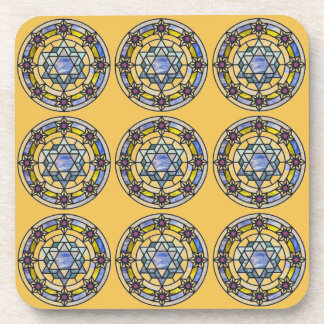 Blue and Yellow Star of David Coaster Set