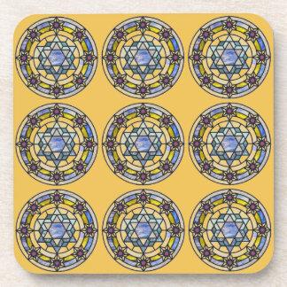Blue and Yellow Star of David Coaster Set