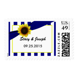 Blue and Yellow Striped Sunflower Postage stamp