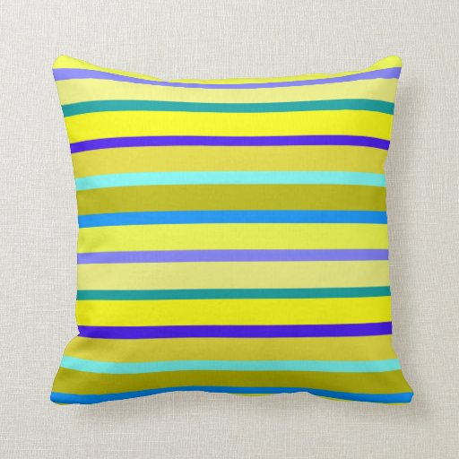 Blue And Yellow Stripes Throw Pillow Zazzle