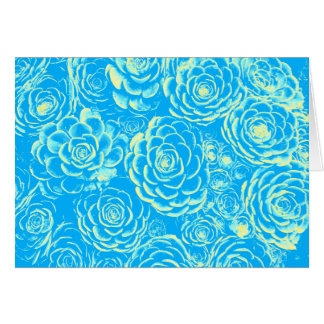 Blue and Yellow Succulent Note Card