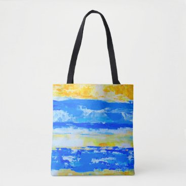 Blue and Yellow Summer Beach Tote