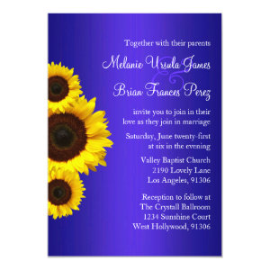 Blue and Yellow Sunflower Wedding Invitation 5
