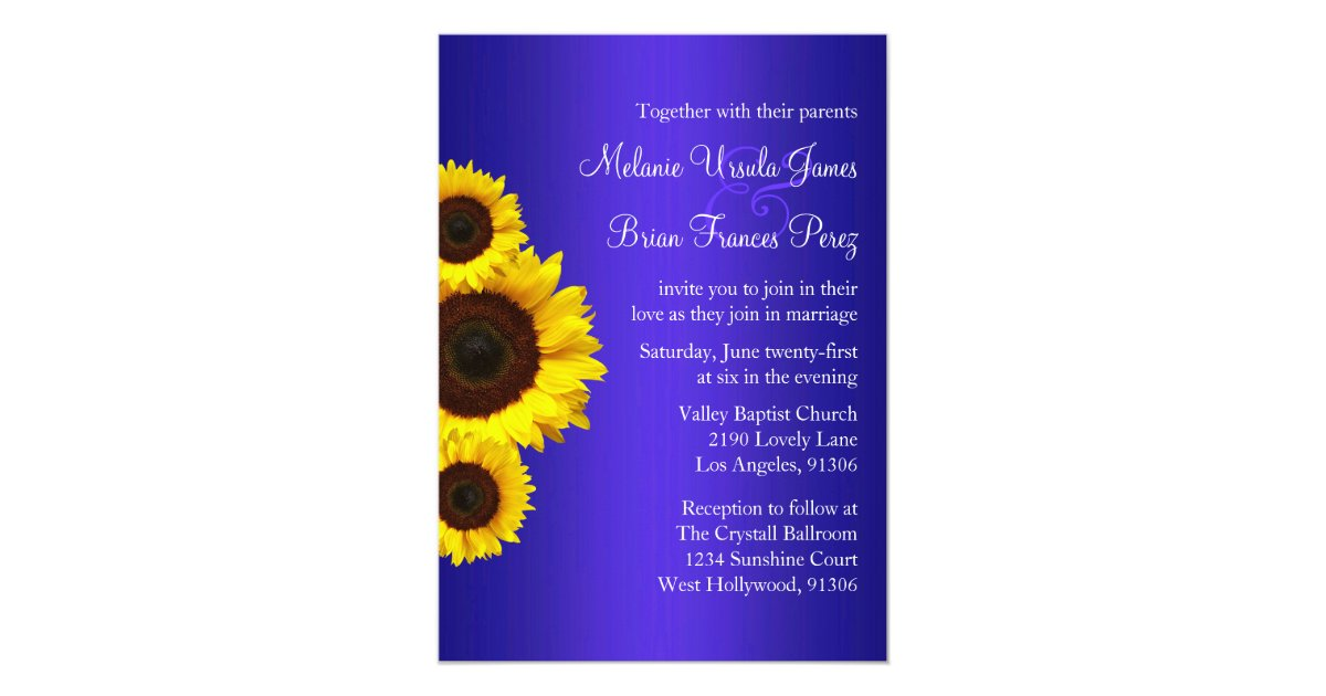 Blue And Yellow Wedding Invitations: Blue And Yellow Sunflower Wedding Invitation