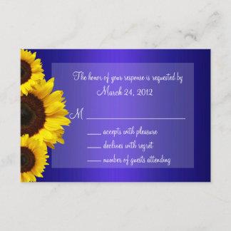 Blue and Yellow Sunflower Wedding RSVP