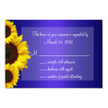 Blue and Yellow Sunflower Wedding RSVP Card