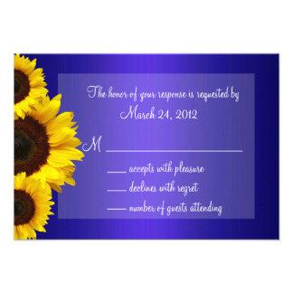 Blue and Yellow Sunflower Wedding RSVP Invites