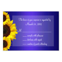Blue and Yellow Sunflower Wedding RSVP 3.5&quot; X 5&quot; Invitation Card (<em>$1.86</em>)