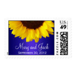 Blue and Yellow Sunflower Wedding Stamp
