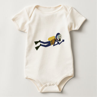 Blue and Yellow Swimming Cartoon Scuba Diver Baby Bodysuit