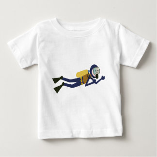 Blue and Yellow Swimming Cartoon Scuba Diver Baby T-Shirt